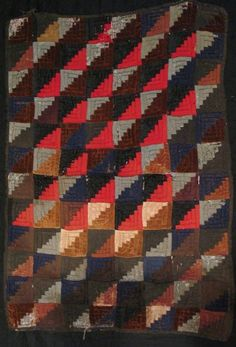 LOG CABIN STRAIGHT FURROW ANTIQUE DOLL QUILT