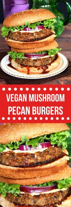 Vegan Mushroom Pecan Burgers have a hearty and chewy texture that really adds a lot to a great veggie patty recipe. All kinds of goodies inside for protein and flavor. #vegansandwich #veganchickpeamushroomburger #veganrecipes #veganburgers #vegetarian #chickpeamushroomrecipe