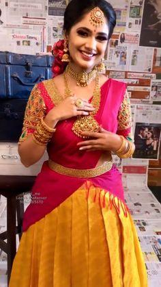 Lehenga Saree Design, Half Saree Lehenga, Saree Look, Lehenga Designs, Saree Dress, Indian Bridal Outfits, Indian Bridal Fashion, Indian Fashion Dresses, Indian Designer Outfits