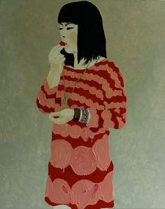 Japanese Girl eating a cherry, Oil on canvas 150x120, Per Adolfsen 2014