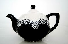 Teapot handpainted with lace dotting by Dprintsclayful on Etsy, $79.00