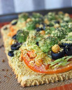 Butternut Squash Pizza Crust loaded with Veggies! (gf, vegan)