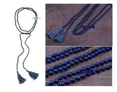 Long Beaded Necklace  6MM Lapis Lazuli Bohemian by SukiFashionista