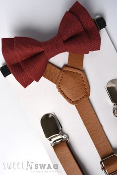 SUSPENDER & BOWTIE SET. Newborn - Adult sizes. Light brown pu leather suspenders. Marsala Bow tie