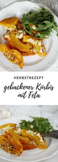 Rezept: Gebackener Kürbis mit Feta A fancy pumpkin recipe is baked squash with feta cheese. The oven pumpkin is pre-marinated and can be eaten either as a main course or as a side dish. Quick Vegetarian Meals, Easy Healthy Recipes, Veggie Recipes, Baked Pumpkin, Pumpkin Recipes, Baked Squash, Mediterranean Recipes, Queso, Food Inspiration