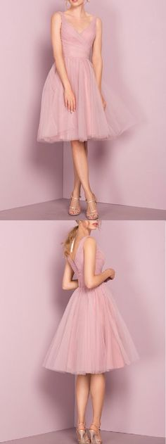A-line Straps Knee-length Sleeveless Tulle Homecoming Dress,Short Prom Dress,Pink Prom Dresses,Cheap Homecoming Dresses,Cheap Evening Dress,Homecoming Dresses Cheap,Quality Dresses,Party Dress,Fashion Prom Dress,Prom Gowns,Dresses for Girls,Prom Dress,Simple Prom Dresses,White Deep V Neck Short Prom Dress