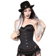 Our Charcoal Pinstripe Hourglass Corset is a great outfit addition for Gothic to Burlesque to office chic ensembles. Pair with pants or a fantastic pencil skirt.