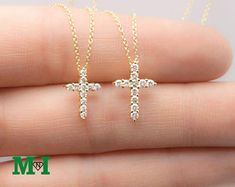 Cross Studded DIamond Necklace - Round Brilliant cut - delicate and sparkle Necklace - engagement and wedding gift for her Diamond Cross Necklaces, Diamond Earrings, Stud Earrings, Charm Necklaces, Gold Necklace, White Gold Diamonds, Natural Diamonds, Colored Diamonds, Diamond Gemstone