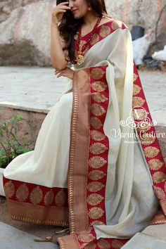 Uppada tissue sari paired with meroon banaras border.- Uppada tissue sari paired with meroon banaras border. It comes with an unstitched meroon silk blouse unstitched Price 5450 Rs Sales Text / whatsapp 9121017226 - Indian Wedding Sari, Saree Wedding, Wedding Wear, Designer Sarees Wedding, Indian Weddings, Sari Design, Silk Saree Blouse Designs, Saree Blouse Patterns, Indian Dresses