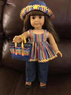Handmade American Girl Doll striped top & hat with jeans and matching tote. American Girl Outfits, American Girl Doll Shoes, American Doll Clothes, Baby Doll Clothes, Doll Clothes Patterns, American Girls, Barbie Clothes, Doll Patterns, American Girl Wellie Wishers