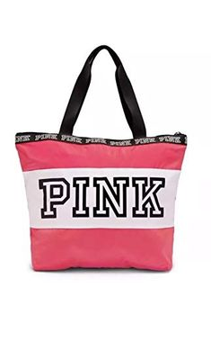 456677e029 Victorias Secret Pink Neon Hot Pink White Logo Zip Tote Bag Review