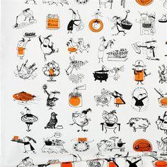 Almedahls Hiram fabric,  illustrated by the legendary food writer Märit Huldt, SWEDEN.