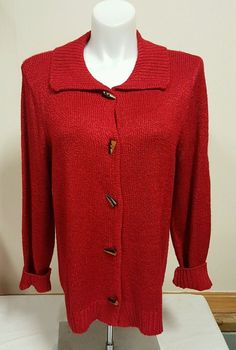 Christopher Banks Women's Button Up Sweater Coat Toggle Buttons Red XL 1x | eBay