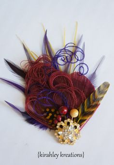 BURGUNDY FALL Peacock Bridal Hair Clip by KirahleyKreations