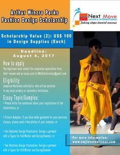 Arthur Winzro Parks #Fashion Design #Scholarships for students in Jamaica. One award at US$200 by August 4th