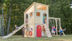 Playhouse 325 wooden playhouse is splinter-free, chemical-free, and maintenance-free and features swings, slides, climbing walls, jungle gyms, and more