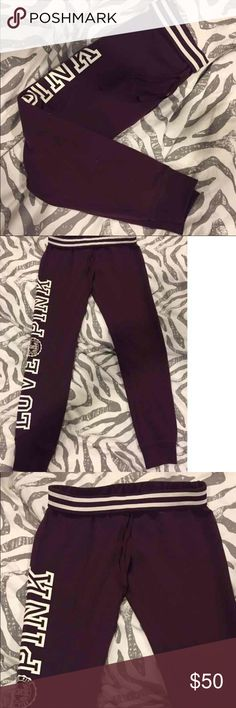 VS PINK New Gym Pant - NWOT - Size Small MVS Pink Gym Pant -NWOT - Size Small. Brand New, Never worn, pruchased online so didn't come with tags. Fits true to size. Bundle and save. Color-Black Orchid (maroon) #VS #Pink #Gympant #blackorchid Retail & purchased for $59.95 PINK Victoria's Secret Pants Track Pants & Joggers