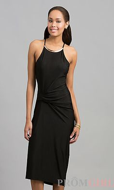 Knee Length Sleeveless Ruched Dress at PromGirl.com