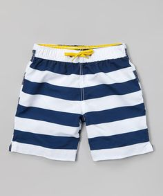 Love this White & Blue Stripe Swim Trunks - Toddler & Boys on #zulily! #zulilyfinds