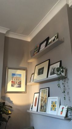New kitchen wall shelves ikea picture ledge Ideas Hallway Storage, Nursery Storage, Ikea Storage, Ikea Picture Shelves, Ikea Shelves, Shelving, Photo Ledge Display, Kitchen Floor Tile Patterns, Farrow And Ball Living Room