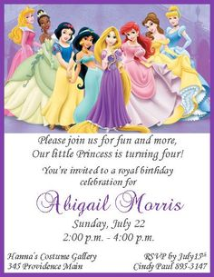 Disney Princesses Birthday Party Invitation Free Printable