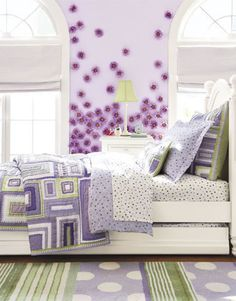 A Wide Range Of Tonal Purples Are Complemented By Crisp Greens To Create This Bright