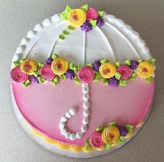 Parasol cake - cake decorating ideas - So cute for a wedding or baby shower! Informations About Parasol cake Pin You can easily use my prof - Pretty Cakes, Cute Cakes, Beautiful Cakes, Amazing Cakes, Cake Decorating Techniques, Cake Decorating Tips, Cookie Decorating, Bolo Musical, Spring Cake