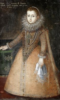 Anne of Austria (1601-1666) at the age of six in 1607. The pleated ruff at her neck frames her face and made of yards and yards of expensive lace stiffened with starch and held in position by a wire frame attached to the collar of her dress. Born at Benavente Palace in Valladolid, Spain, and baptized Ana María Mauricia, she was the eldest daughter of King Philip III of Spain and his wife Margaret of Austria. Portrait by Juan Pantoja de La Cruz, a Spanish painter.