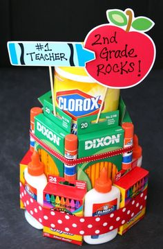 School Supply Cake #BacktoClean #ad:                                                                                                                                                     More