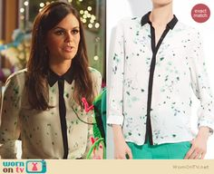 Zoe's white and green printed blouse with black trim on Hart of Dixie. Outfit Details: http://wornontv.net/25851 #HartofDixie #fashion
