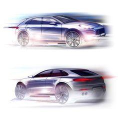 automotive-design:  Porsche Macan 2013 Sketches (by Porche Design Team)