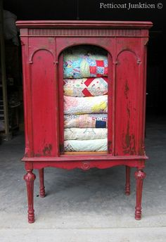 Painted cabinet using Miss Mustard Seed's Milk Paint in Tricycle - gorgeous chippy finish
