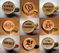 #coffee #café #stencil  Buenisima idea