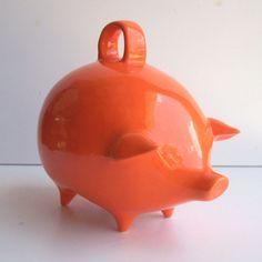 Mexican Piggy Bank Vintage Design in Orange