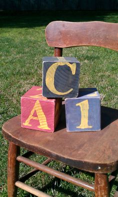 Three 3.5 Inch Distressed Solid Wood Blocks for $25