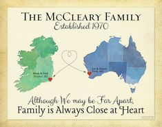 Gift for Family, Long Distance Present for Parents, Moving Away Gift, Family Quote, Ireland Map Art, Australia Map Print