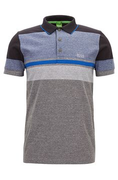 Striped Cotton Polo Shirt, Slim Fit | Paule Grey from BOSS Green for Men for
