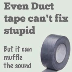 Even Duct tape can't fix stupid. but at least it can muffle the sound! Just In Case, Just For You, Funny Quotes, Funny Memes, Random Quotes, Quotable Quotes, Redneck Quotes, Redneck Humor, Stupid Quotes