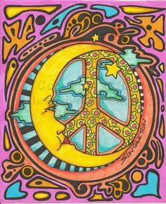 Just Give Me Peace: Peace by the Light of the Moon, Singleton Hippie Art