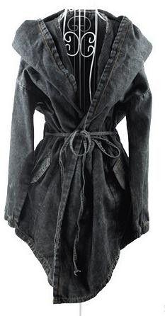 Hooded Irregular Belt Casual Mid-length Long Sleeves Denim Coat