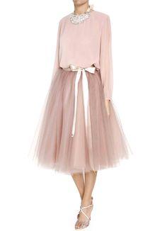 Bgo & me: Falda de tul en color malva empolvado con lazada beige