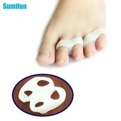 [Visit to Buy] 2Pcs Silicone Gel Toe Finger Separator Feet Care Braces Supports Tools Bunion Guard Foot Hallux Valgus Foot Massager C133 #Advertisement