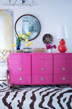 hot pink american of martinsville dresser buffet, painted furniture, repurposing upcycling Black Painted Dressers, Pink Dresser, Dresser Sets, Dresser Makeovers, Bedroom Dressers, Old Dressers, Fireplace Media Console, Stained Dresser, Ikea Malm