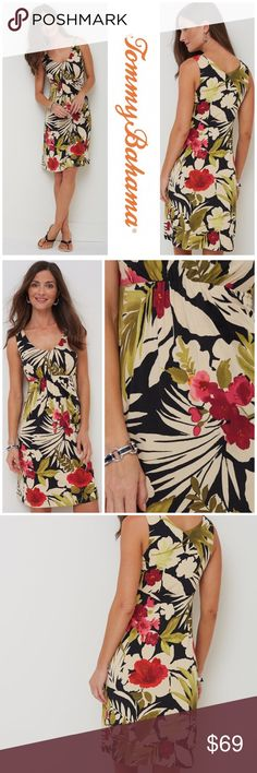 """NWT Tommy Bahama Floral Print Dress Tommy Bahama Floral Sleeveless Dress Tropical color and style are yours with this fabulous dress. Done in Tommy Bahama's legendary travel fabric, it wraps you in all-day softness, resists wrinkling and has amazing stretch. Arrayed in allover botanical pattern, it has an empire waist and soft V-neckline that flatters you. And the tank style ensures a timeless look.  96% viscose, 4% spandex Measures pit to pit 17"""" Length 37"""" Tommy Bahama Dresses"""