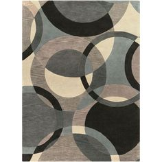 Forum Neutral and Blue Round 4 Ft. Round Area Rug - (In No Image Available)