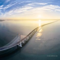 Vasco da Gama Bridge, the longest in Europe. Lisbon, Portugal. The OCEAN is beautiful.