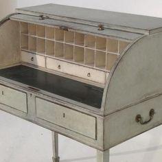 19th Century English Roll Top Writing Desk