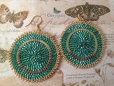 Beadwork Earrings  Big Bold Emerald Green Seed Bead by WorkofHeart, $35.00