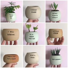 Painted Plant Pots, Painted Flower Pots, Clay Pot Crafts, Diy Clay, Ceramic Planters, Ceramic Clay, Potted Plants, Cacti And Succulents, Clay Pots