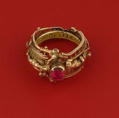 Katharina's gold and ruby ring, Stadtgeshichtelichtes Museum, Leipzig. Renaissance Jewelry, Medieval Jewelry, Ancient Jewelry, Antique Jewelry, Vintage Jewelry, Antique Ruby Rings, Wiccan Jewelry, Viking Jewelry, Cute Jewelry